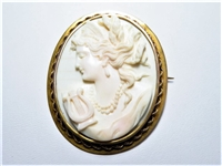 LARGE CORAL CAMEO ROSE GOLD ANTIQUE BROOCH / PENDANT