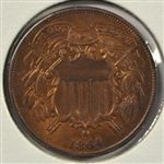 RARE 1864 SMALL MOTTO TWO CENT PIECE IN RED & BROWN AU