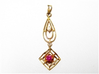 VINTAGE PEARL & RUBY ROSE GOLD LAVALIERE