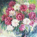 OKSANA GRINEVA *** PEONY POPPERS *** SIGNED ORIGINAL OIL PAINTING