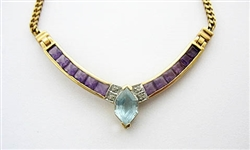 14K BLUE TOPAZ, AMETHYST, AND DIAMOND NECKLACE 34 C.T.W.