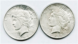 PAIR OF WELL PRESERVED 1923-S PEACE SILVER DOLLARS