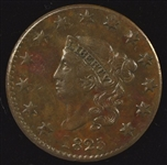 SCARCE CHOICE GLOSSY-BROWN AU 1825 CORONET HEAD LARGE CENT (N-3; R-4)