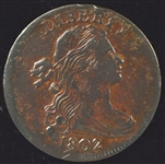 VERY SELECT 1802 DRAPED BUST LARGE CENT. AU DETAILS