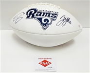TODD GURLEY & JARED GOFF AUTOGRAPHED FOOTBALL WITH COA