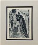 DALI * THE BLIND WITH ENVY - PURGATORY CANTO 14* ORIGINAL WOODCUT, MATTED