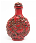 CHINESE HAND CARVED RED SNUFF BOTTLE