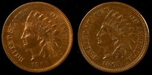 2 1865 (FANCY 5) INDIAN HEAD CENTS IN AU