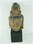 OLD ASIAN STYLE CARVED WOODEN FIGURE HEAD ON STAND