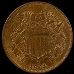 GREAT ORIGINAL UNCIRCULATED 1864 LARGE MOTTO TWO CENT PIECE