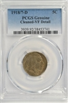 PRESTIGIOUS RARE 1918/7-D BUFFALO NICKEL. PCGS VF DETAIL