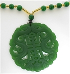 GREEN JADE CHINESE PENDANT WITH BEADED NECKLACE