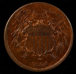 RARE REDDISH-BROWN NICE AU 1864 SMALL MOTTO TWO CENT PIECE. AU