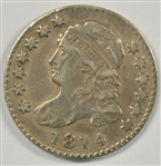 VERY SCARCE SHARP 1814 STATESOFAMERICA LARGE SIZE CAPPED BUST DIME. XF DETAILS