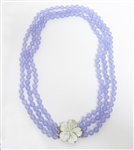 PURPLE JADE BEADED 3 STRAND NECKLACE WITH SHELL FLOWER CLASP