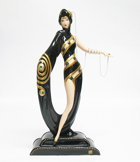 FRANKLIN MINT ERTE PEARLS AND EMERALDS STATUE