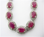 14K NATURAL RUBY AND DIAMOND NECKLACE 26.28 C.T.W.