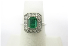18K  EMERALD AND DIAMOND RING 1.68 C.T.W.