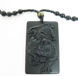 HAND CARVED CHINESE BLACK OBSIDIAN TIGER PENDANT