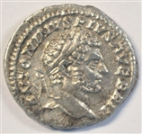 SUPERB NEAR MINT BEARDED CARACALLA ROMAN SILVER DENARIUS, 198-217 AD