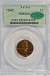 SUPERB FULL RED GEM PROOF 1942 LINCOLN CENT. PCGS PR65RD CAC STICKER