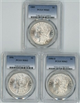 3 DIFFERENT CHOICE BU MORGAN SILVER DOLLARS IN PCGS MS62