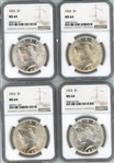 4 VIRTUAL GEM BU 1923 PEACE SILVER DOLLARS. NGC MS64