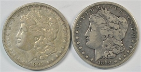 MUCH NICER CIRCULATED 1890-CC & 1891-CC MORGAN SILVER DOLLARS