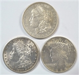 3 DIFFERENT TOP END US SILVER DOLLARS: 1878-P ROUND BREAST, 1890-S, & 1934-P