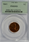 GEM PROOF OLD PCGS PR65RD GRADED 1941 LINCOLN CENT