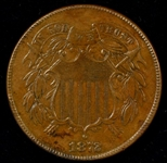 RARE GLOSSY-BROWN UNCIRCULATED 1872 TWO CENT PIECE. FULL STRIKE