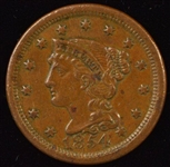 TOP END ORIGINAL 1854 BRAIDED HAIR LARGE CENT. NICE