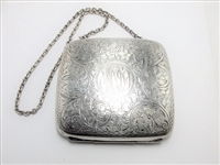 VINTAGE STERLING SILVER LARGE PURSE WITH CHAIN