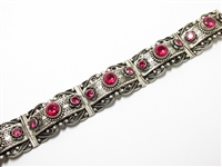 LARGE FILIGREE SILVER ESTATE BRACELET WITH RUBIES