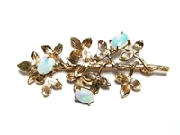 "VINTAGE OPAL & GOLD TONE STERLING BROOCH BY ""WELLS"""