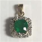 14K YELLOW GOLD .30 C.T.W. DIAMOND AND .75 CT. EMERALD PENDANT