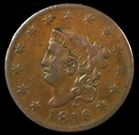 BEAUTIFUL CHESTNUT BROWN SCARCE 1816 CORONET HEAD LARGE CENT IN XF