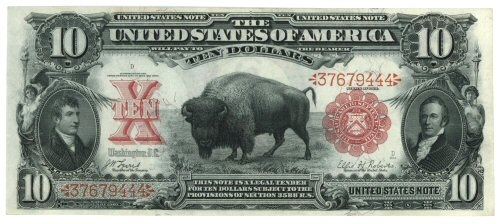 SCARCE NEARLY UNCIRCULATED 1901 $10 BISON UNITED STATES NOTE. VERY SCARCE IN CHOICE AU+ (FR-114)