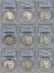 WHOLESALE DEALER BULK LOT OF NINE (9) DIFFERENT PCGS MS64 GRADED MORGAN SILVER DOLLARS 1879-S TO 1904-O. NEAR GEMS