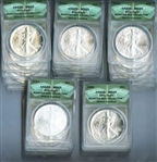 GEM BRILLIANT UNCIRCULATED SET OF 30 AMERICAN SILVER $1 EAGLES COMPLETE FROM 1986 TO 2015