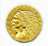 EXTREMELY RARE 1909 O $5 INDIAN GOLD COIN