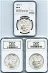 THREE GEM BRILLIANT UNCIRCULATED MORGAN SILVER DOLLARS