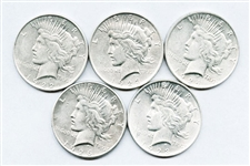 GROUP OF 5 BETTER GRADE PEACE DOLLARS