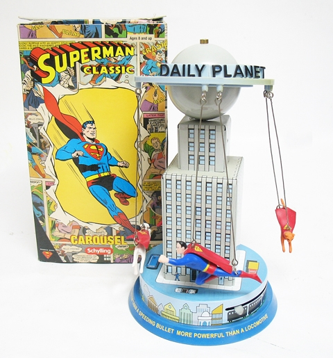 VINTAGE TIN WINDUP SUPERMAN FLYING AROUND THE DAILY PLANET BUILDING