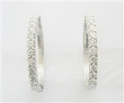 14K WHITE GOLD DIAMOND HOOP EARRINGS 1.50 C.T.W