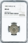 CHOICE BRILLIANT UNCIRCULATED 1883 5 CENT SHIELD NICKEL MS63