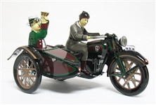COLLECTIBLE WIND UP TIN MOTORCYCLE AND SIDE CAR TOY