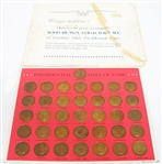 VINTAGE FRANKLIN MINT 1968 36 PIECE PRESIDENTIAL HALL OF FAME BRONZE COIN SET