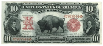 NEARLY UNCIRCULATED 1901 $10 BISON UNITED STATES NOTE. VERY SCARCE IN CHOICE AU+ (FR-114)