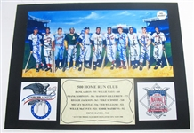 HAND SIGNED 500 HOME RUN CLUB  5 1/2 x 11 WITH 11 SIGNATURES IN A 10 X 13 DISPLAY